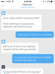 Operator, the shopping assistant, chats with consumers.