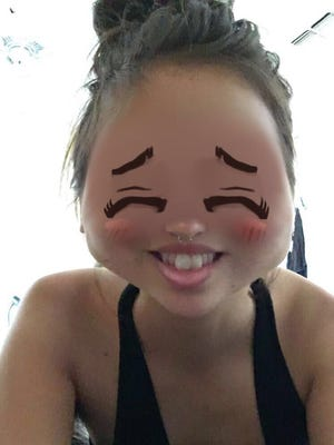 Snapchat user, Grace Sparapani using the Snapchat filter that debuted Tuesday and was taken down Wednesday after receiving criticism for yellowface.