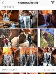 A screenshot of the Kanarraville Falls hashtag on Instagram.