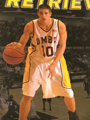 Cedar Grove's Rob Gogerty, pictured here on a UMBC media guide, ranked fifth in school history in assists and sixth in career steals.