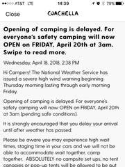 Screenshot of the Coachella-app push alert issued Wednesday