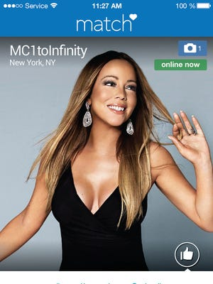 """Profile page for singer Mariah Carey. From Madonna to Carey, more and more acts are looking to platforms like Tinder and Match to promote their music and reach their fans on-the-go. Carey launched a profile in June 2015 on Match.com to premiere her music video for the single, """"Infinity."""""""