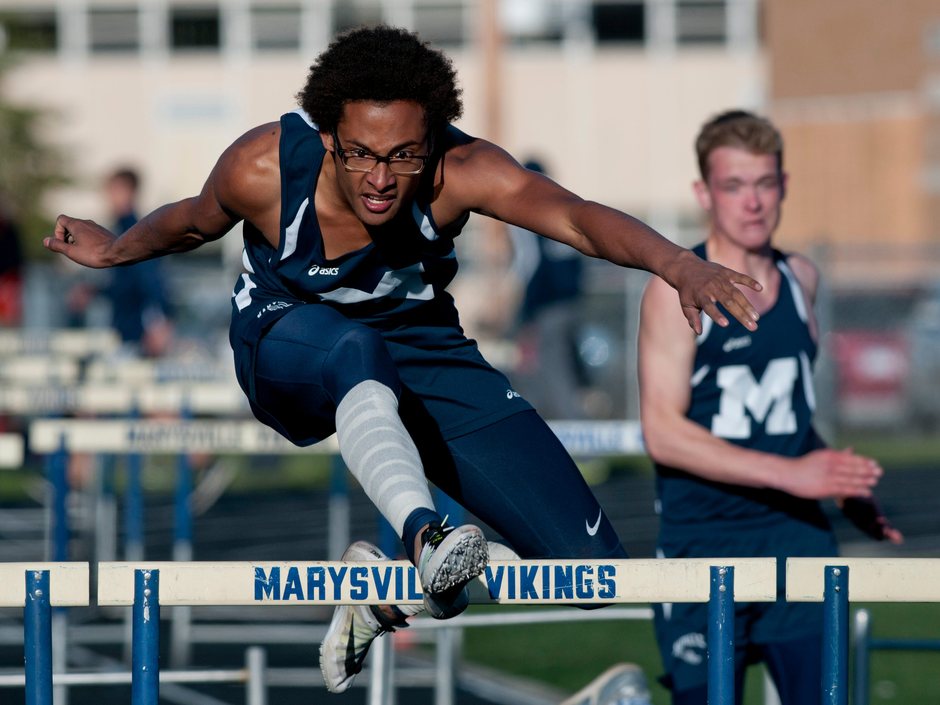 Marysville senior Dylan Pankow competes in the hurdles during the Meet of Champions Friday, May 22, 2015 at Marysville High School.