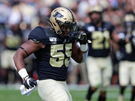 Purdue defensive end Derrick Barnes (55) celebrates a tackle against Vanderbilt during the first half of an NCAA college football game in West Lafayette, Ind., Saturday, Sept. 7, 2019. (AP Photo/Michael Conroy)