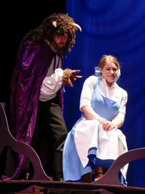 Beast is played by Andrew Palmintier and Belle is played by Alex Hebert during a rehearsal of Beauty and the Beast performed by Christian Youth Theater of Lafayette, an after-school performing arts program, at Angelle Hall May 10, 2016.