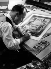 A Western Publishing artist works on a forthcoming book in 1956.