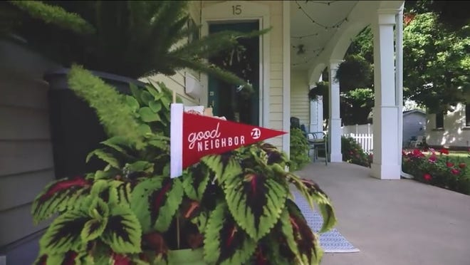 A screenshot from the city of Zeeland's video introducing Good Neighbor Day shows an example of the Good Neighbor pennants that can be picked up from Zeeland City Hall and Howard Miller Public Library during the month of September to show commitment to being a good neighbor.