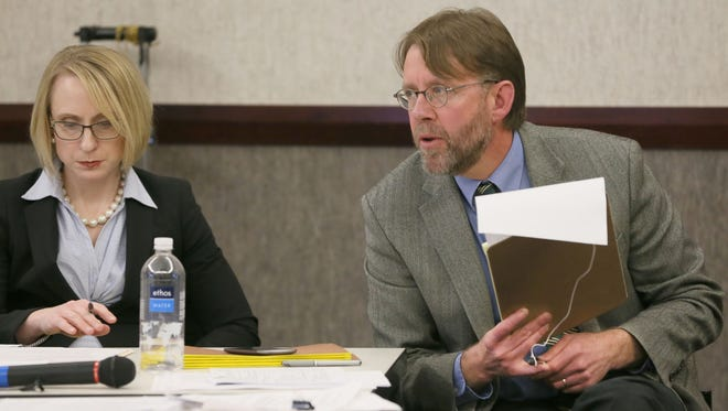 Matt Blessing, chairman of the Public Records Board, make at point at the Jan. 11 board meeting.
