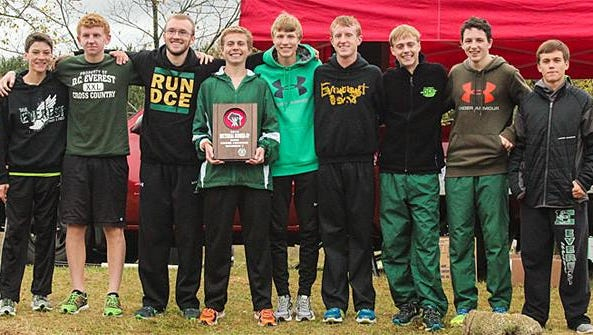 The D.C. Everest boys cross country team after their second-place finish at the sectional meet.