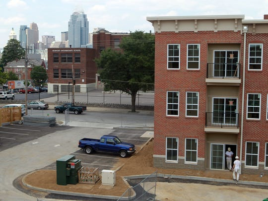 A view of downtown Cincinnati from Monmouth Row Apartments in Newport.