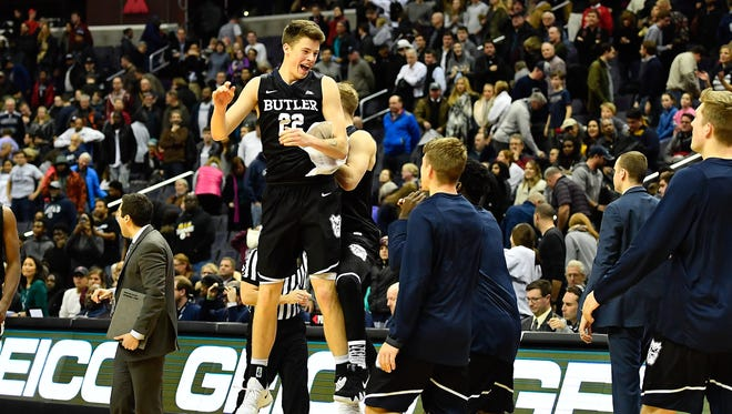 Butler Bulldogs guard Sean McDermott (22) reacts after the game against the Georgetown Hoyas at Capital One Arena.