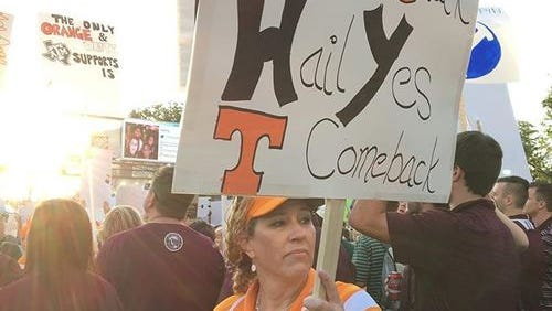 Julie Dougherty, one of the few Tennessee fans here at College Gameday.
