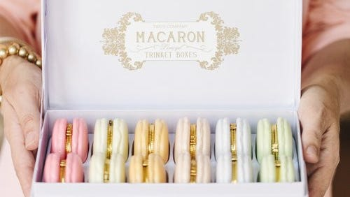 Macaroon-inspired trinket boxes ($10 each) at Rehoboth's online boutique www.hattanhome.com.