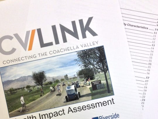A copy of the impact assessment for the CV Link project, which would connect the Coachella Valley with a 50-mile recreational pathway.