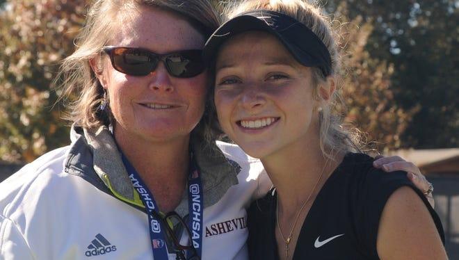 Asheville High girls tennis coach Erin Mosher and Adrienne Haynes.