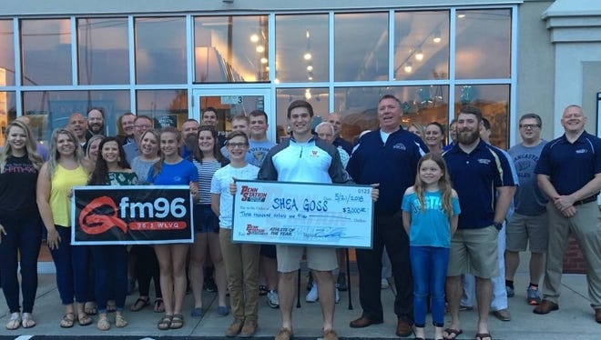 Lancaster senior Shea Goss was awarded a $3,000 scholarship check after he was selected the Penn Station East Coast Subs Athlete of the Year.