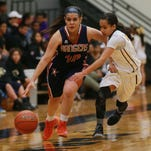 Riverside's Anika Galindo drives to the basket against Parkland's Kaylee during the fourth quarter at Parkland.