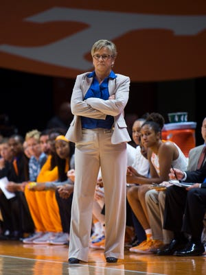 Tennessee coach Holly Warlick watches the Lady Vols during the first half against Navy on Sunday at Thompson-Boling Arena.