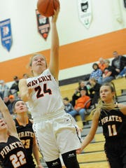 Waverly freshman Zoiee Smith scores during the fourth quarter of Monday's contest against Wheelersburg at Waverly High School. Smith finished with 14 points, eight rebounds and four assists — all team highs.