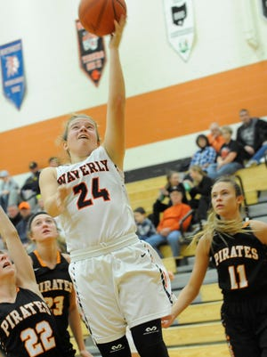 Waverly girls basketball outlasted South Webster 55-52 last night as Zoiee Smith scored 19 points.