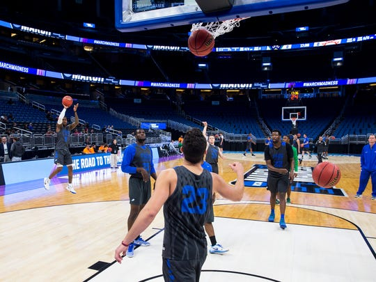 The FGCU men's basketball team practices for their first round game of the NCAA tournament on Wednesday, March 15, 2017 at the Amway Center in Orlando, Florida. The Eagles will face off against FSU tomorrow night at 9:20 PM.