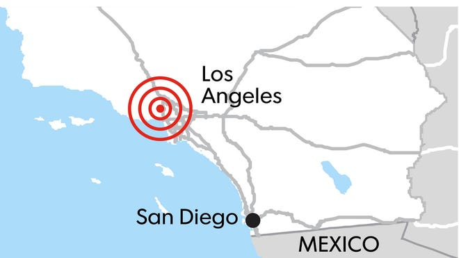 An earthquake rattled the Los Angeles area Monday.