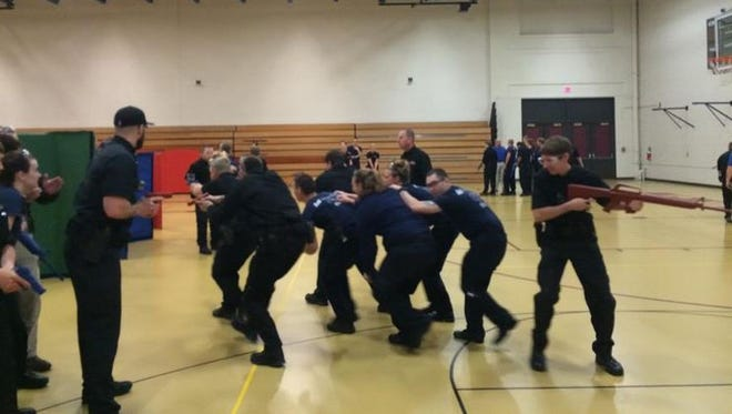 Students from Mid-State Technical College's Criminal Justice – Law Enforcement and Paramedic programs participate in active shooter training Thursday at MSTC in Wisconsin Rapids.