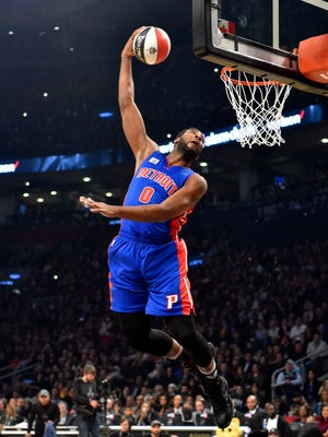 Feb 13, 2016; Toronto, Ontario, Canada; Detroit Pistons center Andre Drummond competes during the dunk contest during the NBA All Star Saturday Night at Air Canada Centre.