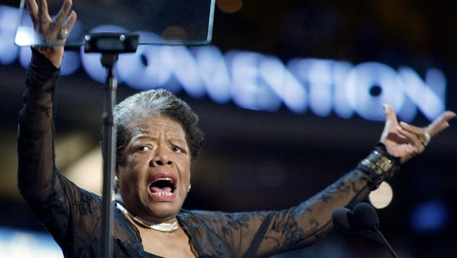 Poet and activist  Maya Angelou addresses  the Democratic National Convention in Boston on  July 27, 2004.