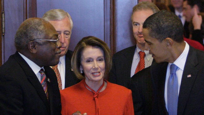 Democratic leaders James Clyburn and Nancy Pelosi with President Obama.