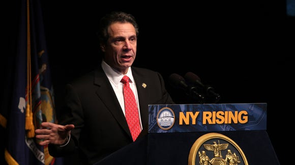Gov. Andrew Cuomo gives his State of the State and Budget Message to an audience in the Performing Arts Center at SUNY Purchase March 7, 2013.
