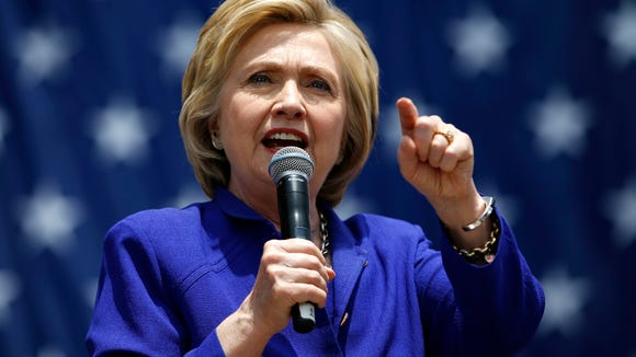 Democratic presidential candidate Hillary Clinton speaks at a rally.