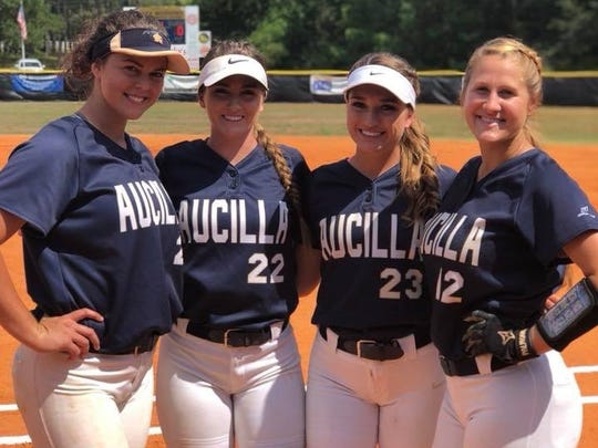 Aucilla Christian's four seniors - Abigail Morgan, Elizabeth Hightower, Carly Joiner and Kaylie Rogers.