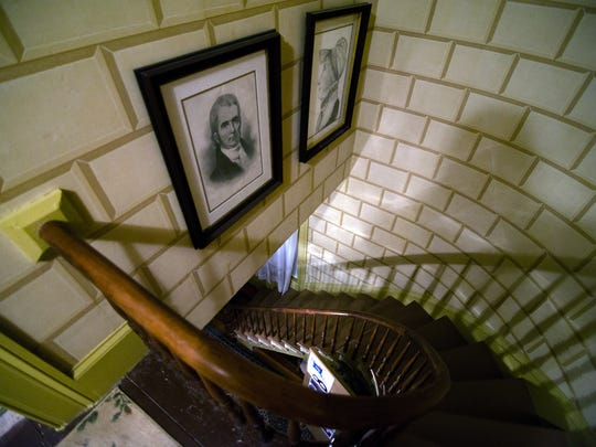 The stairwell leading to the main floor