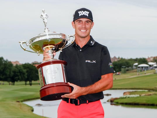 Billy Horschel with AT&T Byron Nelson trophy