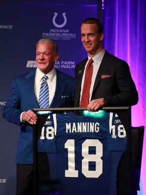 Mar 18, 2016; Indianapolis, IN, USA; Indianapolis Colts owner Jim Irsay retires the number of quarterback Peyton Manning during a press conference at Indiana Farm Bureau Football Center. Mandatory Credit: Brian Spurlock-USA TODAY Sports