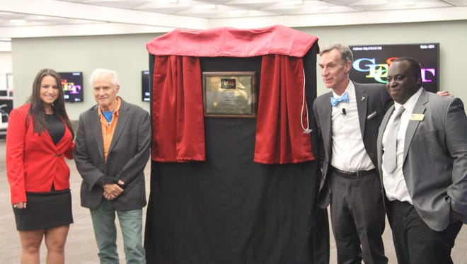 Bill Nye, with bow tie, opened Florida State's new GEOSET studio Tuesday night. From left, program Assistant Director Christina Amrhein, founder Sir Harold Kroto and director Steve Acquah.