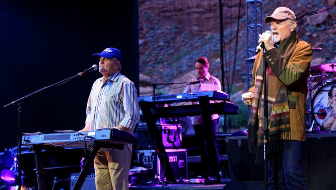 Longtime members Bruce Johnston and Mike Love lead The Beach Boys through a set Thursday night at Tuacahn Amphitheatre in Ivins City.