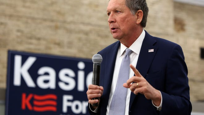 Ohio governor and Republican presidential candidate John Kasich  speaks at a town hall at Hofstra University in Hempstead, April 4, 2016. The governor is campaigning in New York before the April 19th primary.