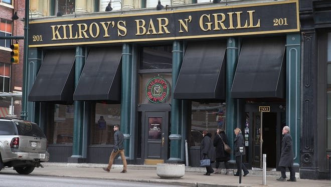Lunch goers leave Kilroy's Bar & Grill, Monday, Jan 4, 2016, at 201 S. Meridian St. in Downtown Indianapolis.