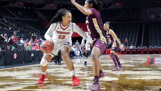 UL's Simone Fields enjoyed her best game of the new year with 16 points and five rebounds in Saturday's win over ULM.