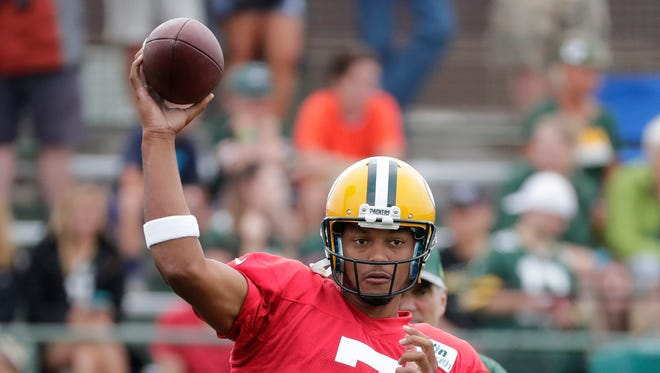 Green Bay Packers quarterback Brett Hundley (7) during training camp at Ray Nitschke Field.