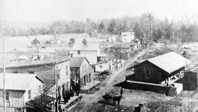 Photograph of a portion of Stokesville as it appeared in about 1905. With the exception of a handful of scattered structures, this boom town— which was founded on the exploitation of coal and timber— has nearly completely disappeared.