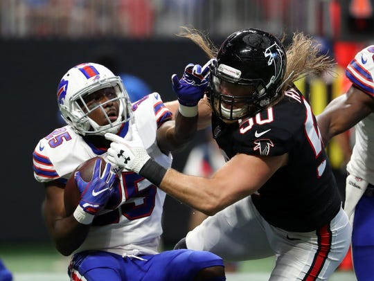 Buffalo Bills running back LeSean McCoy (25) is tackled