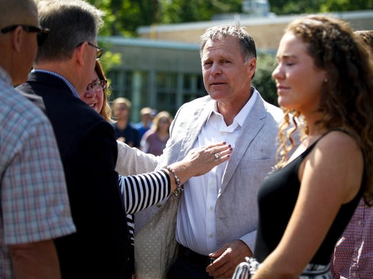 Fred Warmbier, father of Otto Warmbier, stops at the