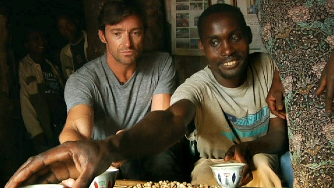 """Hugh Jackman (left) and coffee farmer Dukale are seen in the documentary """"Dukale's Dream."""""""