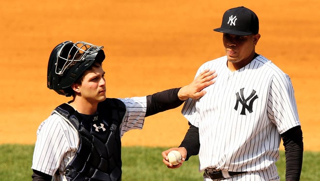 John Ryan Murphy, left, and Dellin Betances lead the Yankees over the Angels.