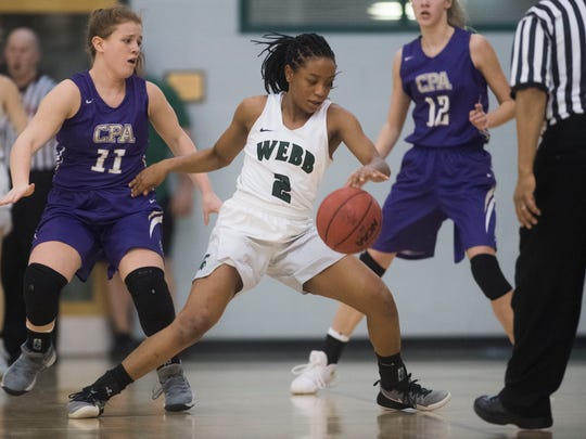 Webb's Jasmine Jefferson (2) dribbles the ball during a state quarterfinal game between Webb and CPA at Webb Friday, Feb. 23, 2018. Webb defeated CPA 40-19.