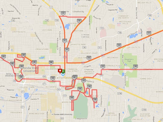 The complete course map for the full Tallahassee Marathon.