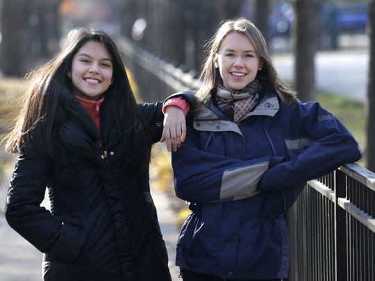 Lakeview High School teacher Kristin Hu, right, who attends the LaSalle Street Church, stands with her student Lucy, a Mexican-born Dreamer who wants to attend college but can't qualify for financial aid because of the immigration status. She inspired Hu to give $500 to a Dreamer organization or start a scholarship foundation for the kids.